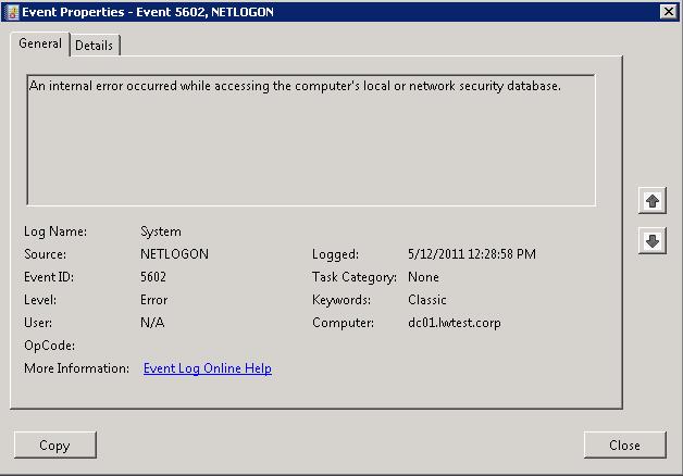 Netlogon EventID 5602